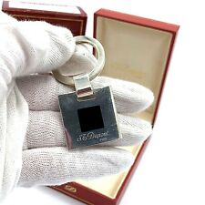 S.T.Dupont Paris 3280 Sterling Silver 925 Black Laquer Square Plate Keychain