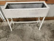 Vtg Antique White Wicker Wood Plant Stand Shabby Chic Lloyd Looms Product 1917