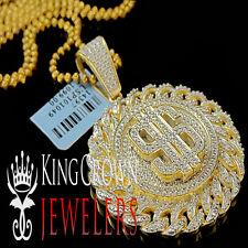 Mens Real Diamond Miami Cuban $ Sign Money Pendant Charm 10K Yellow Gold Finish