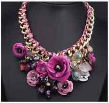 Women Big Weave Chain Attractive Crystal Flower Bib Statement Necklace Choker Rose Red