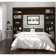 Full Size Wall Bed Chocolate Hidden Murphy Bedroom Shelving Storage SPACE SAVING