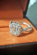 Certified 2.15Ct Emerald Cut White Diamond Engagement Ring Solid 14K White Gold
