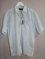 INFINITY Brand Blue Stripe Short Sleeve Button Down Shirt Size 42 cm BNWT #TG106