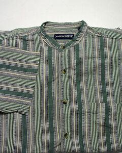 Stehkragen Sommer Hemd von Van Heusen Größe M Comfort Fit Vintage O643