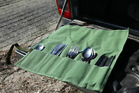 Standard Cutlery Roll 5 Pocket for camping. Green. Australian made.Aust canvas.