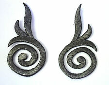2X SILVER GREY SCROLLS SWIRL Embroidered Iron Sew On Cloth Patch Badge  APPLIQUE