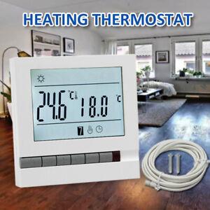 16A Electric Underfloor Heating Thermostat Control Switch + Floor Sensor Set