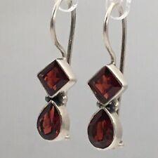 """925 Sterling Silver Garnet Earrings 1"""""""