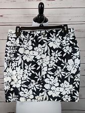 Chaps Womens Sz 4 Black White Floral Skirt Back Pockets Casual Cotton Stretch