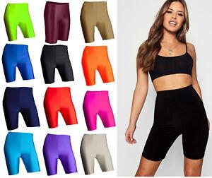 Womens Ladies Shiny Super Stretchy Lycra Leggings Cycling Dance Zumba Shorts