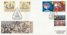 (99247) GB FDC Columbus Capitaine Cook Endeavour Whitby 7 Avril 1992