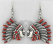 Burnished Silver Indian Chief Headdress Feathers Earring Wire Dangle Red Bead