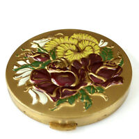 Enameled Floral Powder Compact Embossed Roses Gold 1950's Vintage