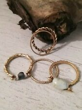 Anthropologie Antique Gold Natural Stone Knuckle Rings - Set of 5 **NEW**