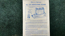 LIONEL # 334 DISPATCHING BOARD INSTRUCTIONS PHOTOCOPY