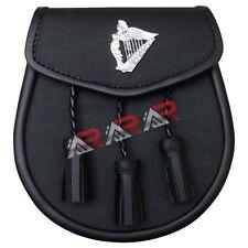 Scottish Leather Kilt Sporran Rabbit Harp Badge Leathers 3 Tassels Chain New AAR