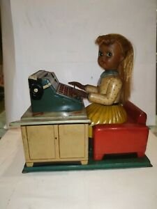 VINTAGE OLD OFFICE TYPIST GIRL TIN TOY BATTERY OPERATED MADE IN JAPAN 1970 #