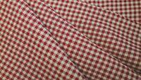 Burgundy Red Primitive Santa Christmas Plaid Cotton Rag Quilt Homespun Fabric