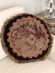 New French Aubusson Floral Tapestry Velvet Pillow Brown