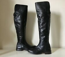 $498 FRYE Shirley Black Leather Tall Riding Over The Knee OTK Cuff Flat Boot 6 B