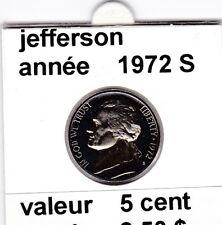 e2 )pieces de 5 cent  1972 S jefferson