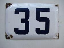 Genuine  vintage ISRAELI enamel porcelain number 35 STREET house sign # 35