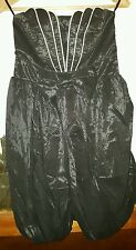 WOMENS Sz 10 black VALLEYGIRL strapless shiny dress LOVELY! ELASTIC BODICE!