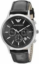 NEW Emporio Armani Classic Black Leather/Silver Quartz Analog Men's Watch AR2447