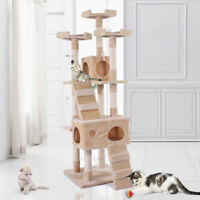 """67"""" Pet Cat Tree Play House Tower Condo Bed  Toy Balls Beige Scratch Post"""