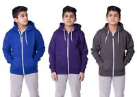 Kids Boys Girls Plain Fleece Hoodie Full length Sleeve Sweatshirt Top Pullover