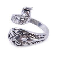 Retro Sterling Silber Finger Ring Pfau Phönix Offen Einstellbar Fingerring ye