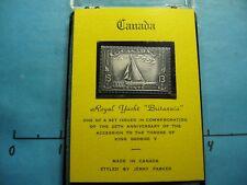 CANADA ROYAL YACHT BRITANNIA GEORGE SHIP ANTIQUE 999 SILVER BAR STAMP COMM #C
