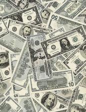 Fabric Money Dollar Bills Full Realistic on Cotton by the 1/4 yard BIN