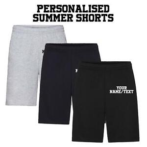 New Mens Personalised Fruit of the Loom Lightweight Fleece Summer Shorts S-XXL