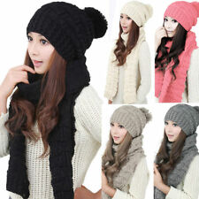 Winter Women Girls Knitted Scarf and Hat Set Warm Knitting Thicken Skullcaps 2b7916f8a09