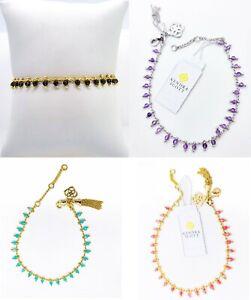 New KENDRA SCOTT Jenna Delicate Beaded Chain Bracelet Black, Pink Amethyst, Blue