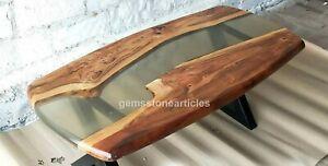 Clear River Center Sofa Table Acacia Handmade Royal Furniture Oval Shape Decors