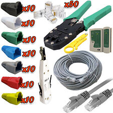 50m Ethernet Network RJ45 Cat5e Cable Tester Crimping Punch Tool Boots Connector