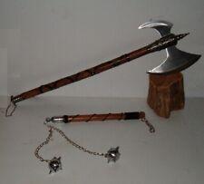 "32.5"" Tribal Medieval Battle Axe & 2 Ball Battle Mace,Dragon,Viking, Free Ship"