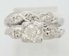 0.45 ct Vintage 14K White Gold Transitional Cut Diamond Engagement Ring Set