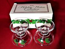 Hostess Collection Glass Holly Berry Taper Candle Holder Avon