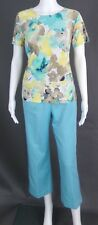 ALFRED DUNNER & JM COLLECTIONS TURQUOISE-MULTI CAPRI PANT SET - SIZE 8P