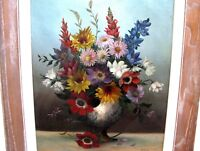 Vintage FLORAL STILL LIFE OIL PAINTING - BOUQUET IN VASE - SIGNED R. COOK
