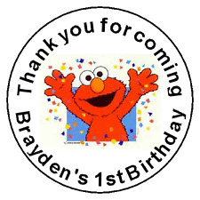 "24 Elmo Birthday Favor Label Stickers Personalized for YOU 1.67"" gift bag"