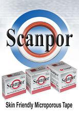 Microporous Tape (BOX OF 3) 2.5cm x 5m  with a Dispenser Genuine Scanpor