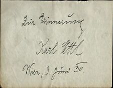 Austrian Musician KARL ETTL Autograph - 1930