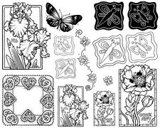 Unmounted Rubber Stamps Sheets, Flowers, Floral Butterfly, Poppy, Iris Dragonfly