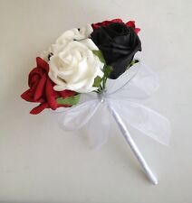 ARTIFICIAL FLOWER RED/WHITE/BLACK FOAM ROSE WEDDING DIAMANTE FLOWER GIRL BOUQUET