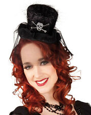 LADIES BLACK BURLESQUE GOTHIC MINI TOP HAT HALLOWEEN SKULL & CROSSBONES NEW