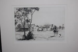 """Original 1934 etching """"The Jinder Tank – Early Morning""""  (6/50) by E. Warner."""